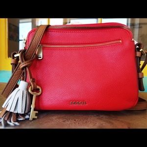 Fossil Neon Coral Piper Toaster Crossbody